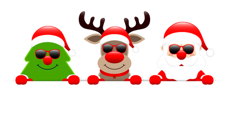 Christmas Tree Reindeer And Santa With Sunglasses Holding Horizontal Banners