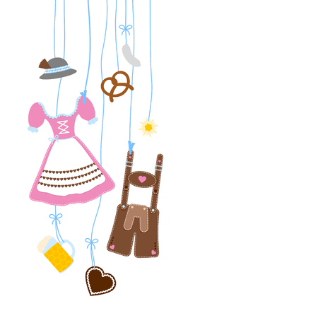 Left Hanging Oktoberfest Icons Pink and Brown Çizim