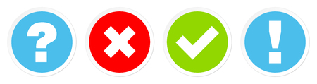 Set Of Four Buttons Question Marks And Answer Blue Red Green