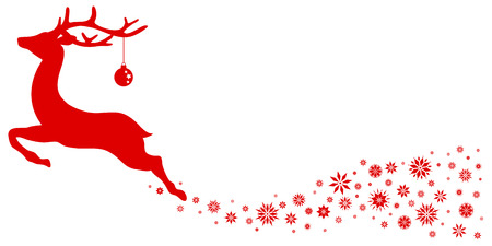 Red Flying Reindeer With Christmas Ball Looking Forward Stars
