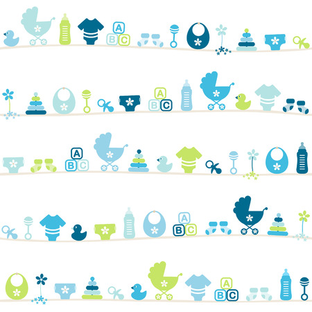 Seamless Pattern Different Baby Icons Boy Blue And Green