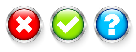 Set Of Three Silver Framed Buttons Checkmarks And Question Red Green Blue