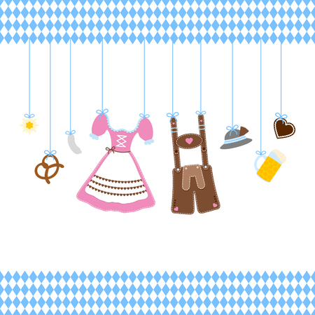 Straight Hanging Oktoberfest Icons With Diamond Pattern Borders