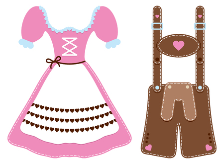 Set Of Two Oktoberfest Icons Dirndl And Leather Trousers