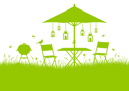 Horizontal Summer Garden Barbecue Silhouette Background Green
