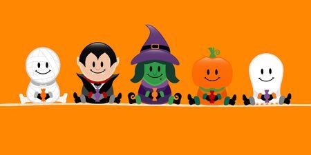 Banner Halloween Mummy Vampire Witch Pumpkin And Ghost Orange Banque d'images - 124612782