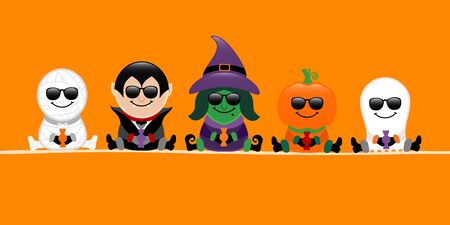 Banner Halloween Mummy Vampire Witch Pumpkin And Ghost Sunglasses Orange Banque d'images - 124612783
