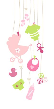 Nine Hanging Baby Girl Icons Pink And Green