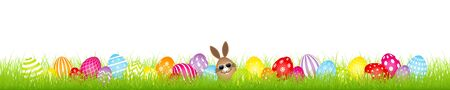 Brown Egg Bunny Sunglasses And Twenty Eight Colorful Easter Eggs Meadow Banner
