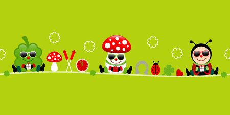Banner Cloverleaf Fly Agaric And Ladybug Sunglasses Icons Green