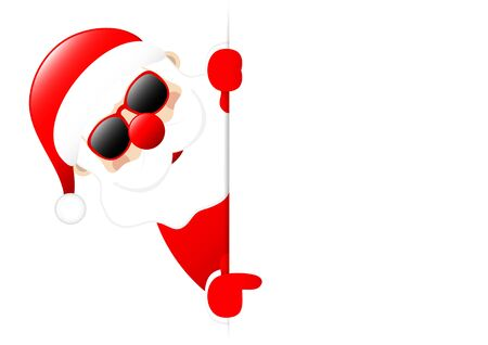 Santa Sunglasses Horizontal Banner Left Showing On Label