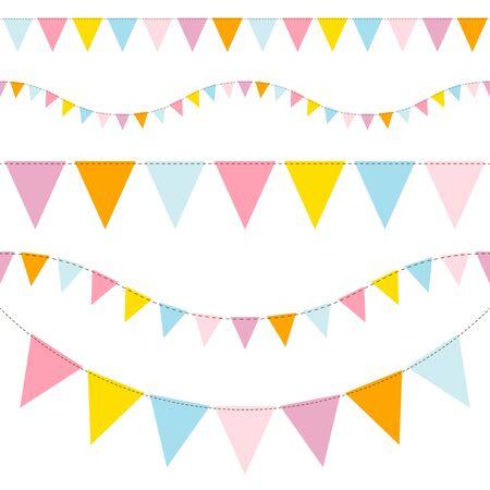 Conjunto de empavesados coloridos transparente azul amarillo naranja rosa Ilustración de vector