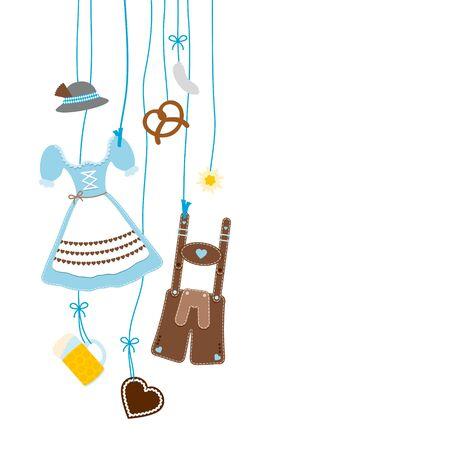 Links hängende Oktoberfest Icons Blau und Braun