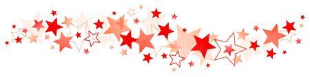 Horizontal Border Big And Little Red Stars Ilustração