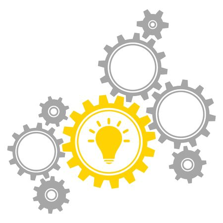 Group Of Eight Graphic Gears Idea Gray And Yellow Vettoriali