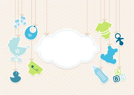 Card Baby Icons Boy And Cloud Background Dots Beige