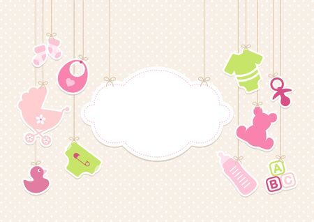 Card Baby Icons Girl And Cloud Background Dots Beige Vettoriali