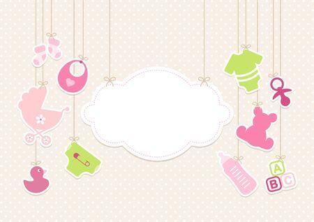 Tarjeta Bebé Iconos Niña Y Nube Fondo Puntos Beige Ilustración de vector