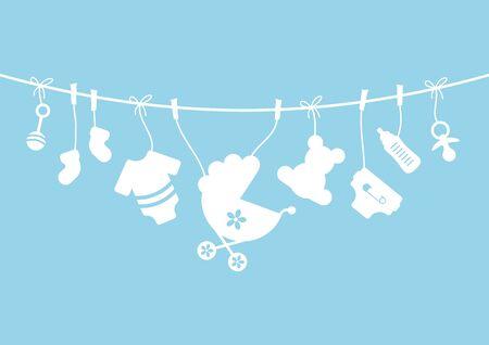 Neun horizontale hängende Baby Icons Boy Bow blau und weiß Vektorgrafik