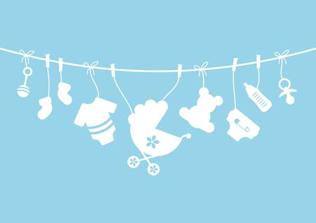 Nine Horizontal Hanging Baby Icons Boy Bow Blue And White