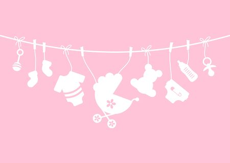 Nine Horizontal Hanging Baby Girl Icons Girl Pink And White Ilustracja