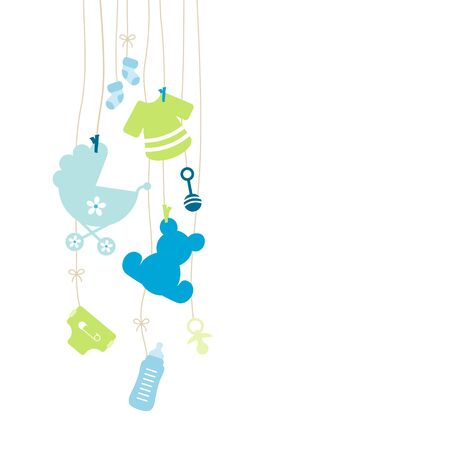 Eight Left Hanging Baby Boy Icons Boy Blue And Green