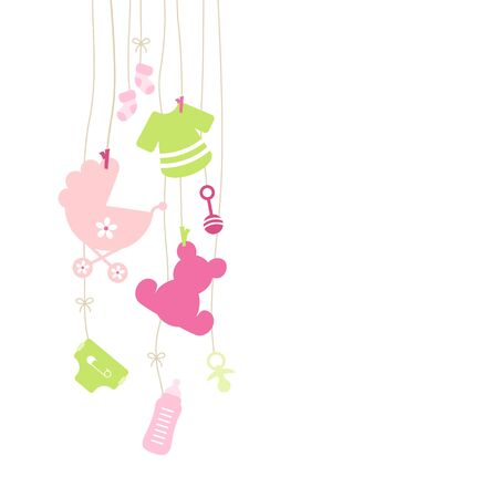 Eight Left Hanging Baby Girl Icons Pink And Green Illustration