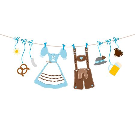 Horizontal Hanging Oktoberfest Icons Bow Blue And Brown Çizim