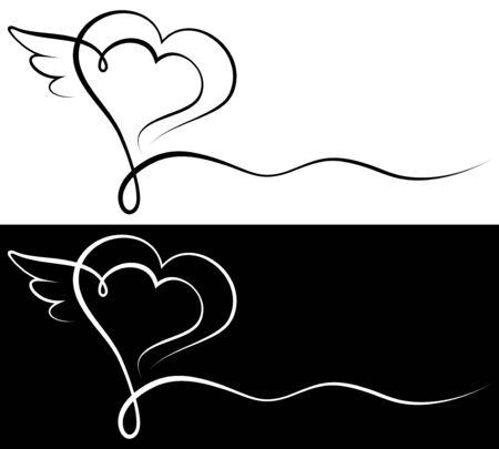 Set di due biglietti di condoglianze cuore e ala in bianco e nero