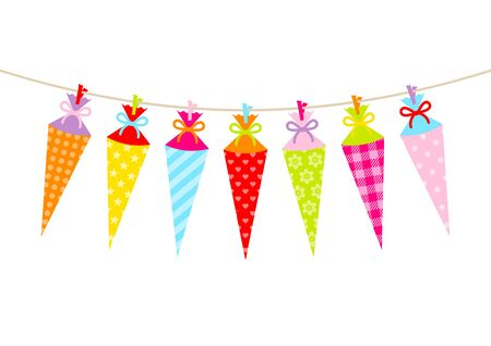 Seven Hanging Colorful School Cornets Pattern Bow