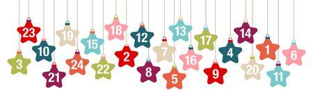 Banner Advent Calendar Hanging Stars Retro Color  イラスト・ベクター素材