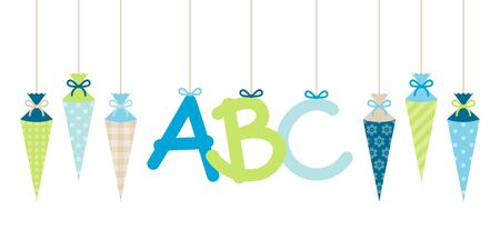 Banner Straight Hanging School Cornet Boy And ABC Letters Blue Green