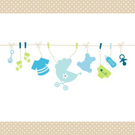 Hangende Baby Boy Pictogrammen Rechte String Dots Rand Beige