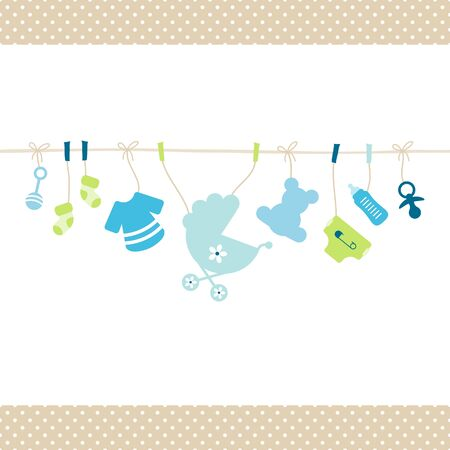 Hanging Baby Boy Icons Straight String Dots Border Beige Stock Illustratie