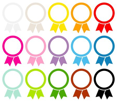 Round Award Badges Frame Graphic Color Set