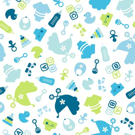 Seamless Pattern Baby Boy Icons Filled Blue And Green Çizim