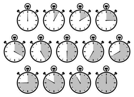 Set Of Thirteen Graphic Stopwatches Gray Different Times  イラスト・ベクター素材