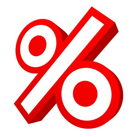 Single Isolated Red Graphic Percent Sale Angled 3D Ilustração