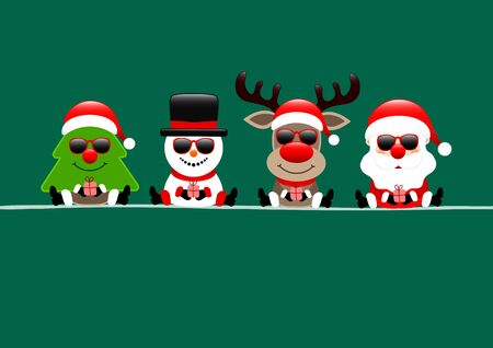 Christmas Card Tree Snowman Reindeer And Santa Sunglasses Green