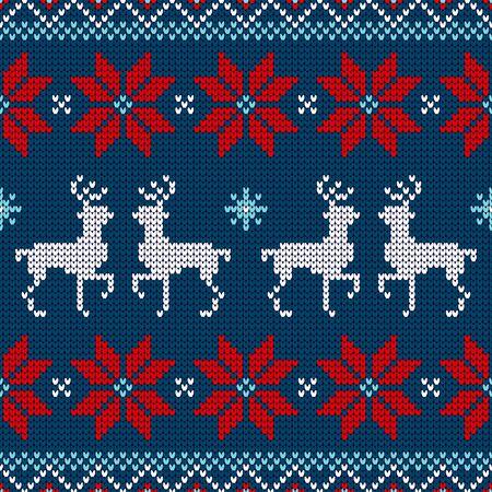 Nahtloses Muster gestricktes Rentier und Weihnachtsstern Rot Weiß Blau