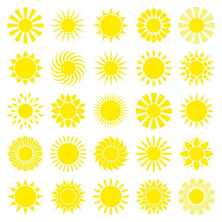 Square Set Of Twenty Five Yellow Graphic Sun Icons