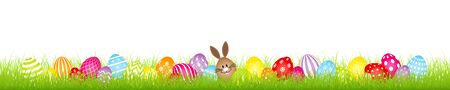 Brown Egg Bunny And Twenty Eight Colorful Easter Eggs Meadow Banner