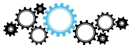 Neun große und kleine Zahnräder Bordürengrafiken schwarz und blau horizontal