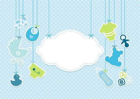 Card Baby Icons Boy And Cloud Background Dots Blue