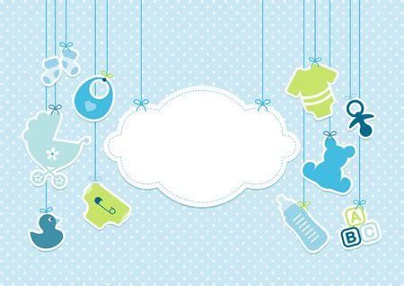 Tarjeta, bebé, iconos, niño, y, nube, plano de fondo, puntos, azul Ilustración de vector