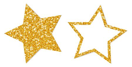 Set Of Two Golden Stars Sparkling Filled And Frame  イラスト・ベクター素材