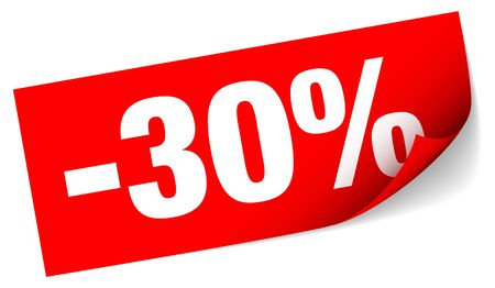 Diagonal Red Sticky Note Sale Minus Thirty Percent