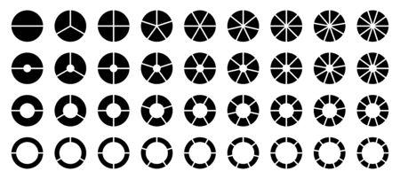 Conjunto de diferentes gráficos circulares redondos negros