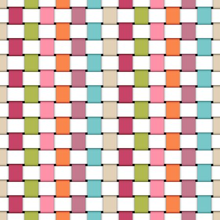 Seamless Pattern Plaited Paper Stripes Rainbow Retro Colors And White