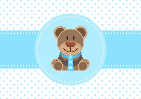 Baby Boy Card Teddy And Bottle Dots Background Blue